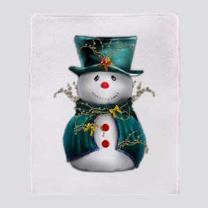 Cute Snowman in Green Velvet Throw Blanket