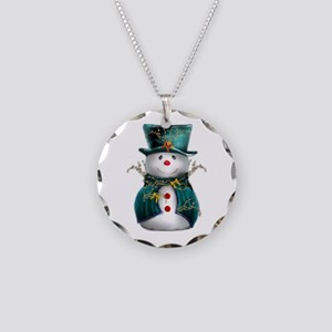 Cute Snowman in Green Velvet Necklace Circle Charm