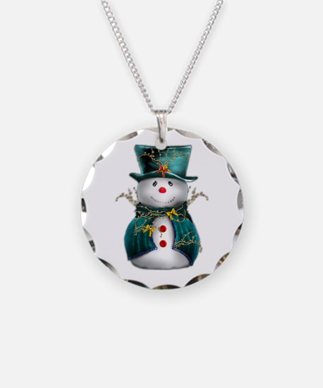 Cute Snowman in Green Velvet Necklace