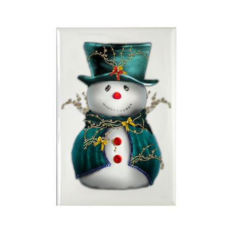 Cute Snowman in Green Velvet Rectangle Magnet