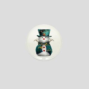 Cute Snowman in Green Velvet Mini Button