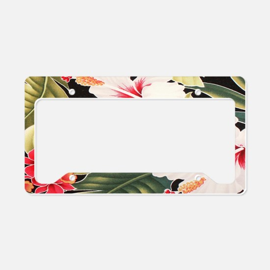 Black Hibiscus Aloha Shirt - License Plate Holder