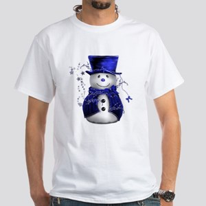 Cute Snowman in Blue Velvet White T-Shirt