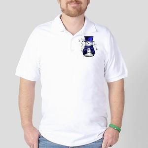 Cute Snowman in Blue Velvet Golf Shirt