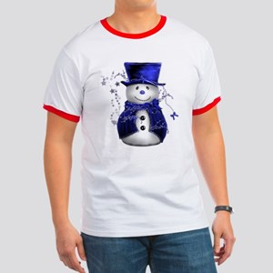 Cute Snowman in Blue Velvet Ringer T