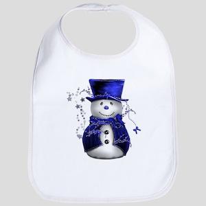 Cute Snowman in Blue Velvet Bib