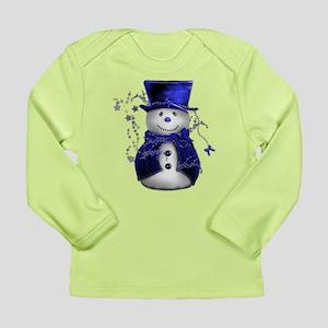 Cute Snowman in Blue Velvet Long Sleeve Infant T-S