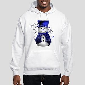 Cute Snowman in Blue Velvet Hooded Sweatshirt