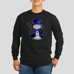Cute Snowman in Blue Velvet Long Sleeve Dark T-Shi