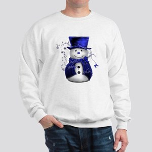 Cute Snowman in Blue Velvet Sweatshirt