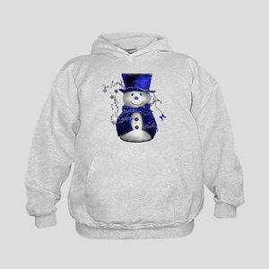 Cute Snowman in Blue Velvet Kids Hoodie