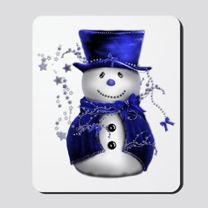 Cute Snowman in Blue Velvet Mousepad
