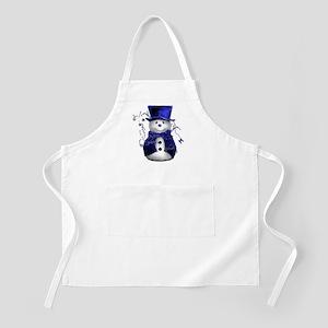 Cute Snowman in Blue Velvet Apron