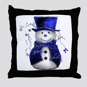 Cute Snowman in Blue Velvet Throw Pillow