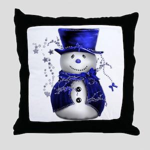 Cute Snowman in Blue Velvet Throw Pillow