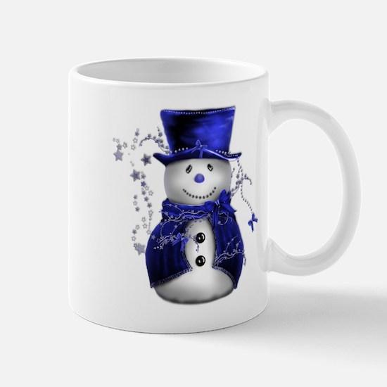 Cute Snowman in Blue Velvet Mug