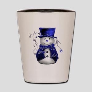 Cute Snowman in Blue Velvet Shot Glass