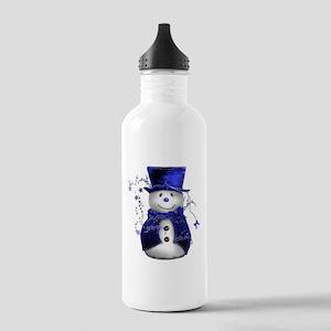 Cute Snowman in Blue Velvet Stainless Water Bottle