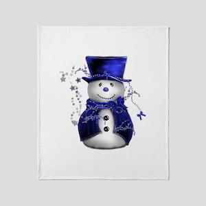 Cute Snowman in Blue Velvet Throw Blanket