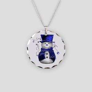 Cute Snowman in Blue Velvet Necklace Circle Charm