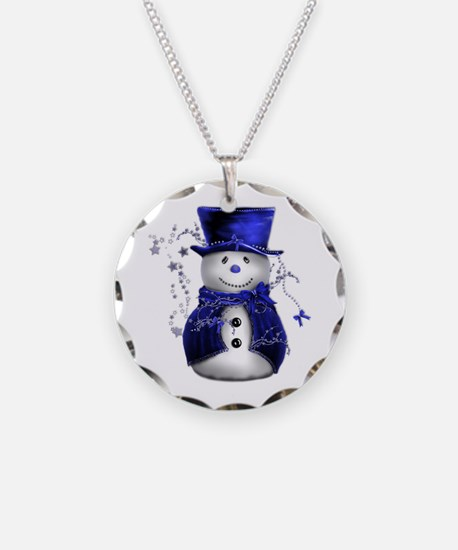 Cute Snowman in Blue Velvet Necklace