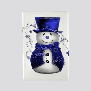 Cute Snowman in Blue Velvet Rectangle Magnet
