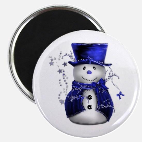 """Cute Snowman in Blue Velvet 2.25"""" Magnet (10 pack)"""