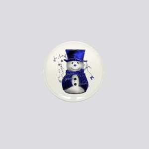 Cute Snowman in Blue Velvet Mini Button