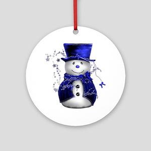 Cute Snowman in Blue Velvet Ornament (Round)
