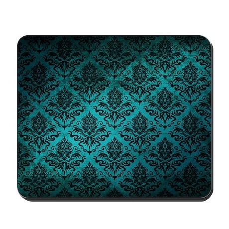 Turquoise Damask Square Mousepad