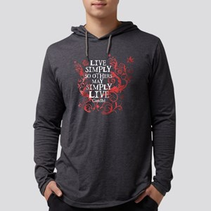 gandhi_vine_simply_pink_dark Mens Hooded Shirt
