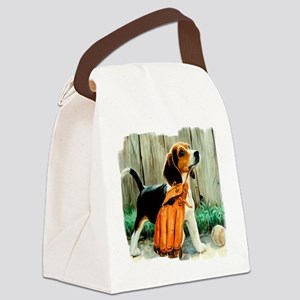 Beagle & Baseball 2 Canvas Lunch Bag