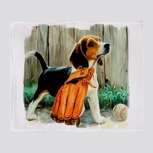 Beagle & Baseball 2 Throw Blanket