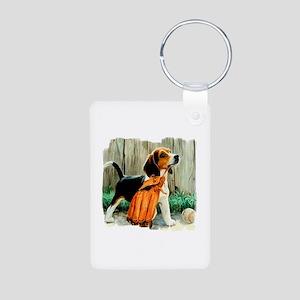 Beagle & Baseball 2 Aluminum Photo Keychain