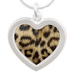 Leopard Print Silver Heart Necklace