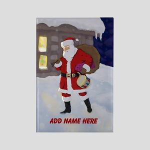 Personalized Santa on Xmas Eve Rectangle Magnet