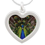 Peacock Silver Heart Necklace