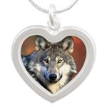 Wolf Heart Silver Heart Necklace