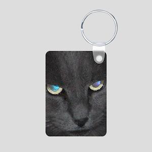 Unique Cat w/ Cool Eyes Aluminum Photo Keychain