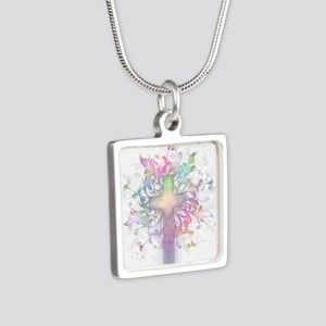 Amazing Grace Silver Square Necklace