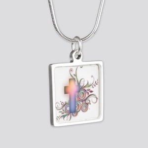 Amazing Grace Silver Square Necklace