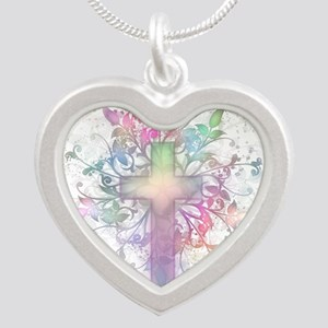 Rainbow Floral Cross Silver Heart Necklace