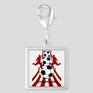 Personalized Red White Soccer Silver Square Charm
