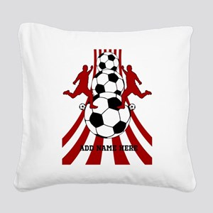Personalized Red White Soccer Square Canvas Pillow