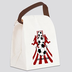 Personalized Red White Soccer Canvas Lunch Bag