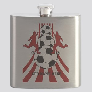Personalized Red White Soccer Flask