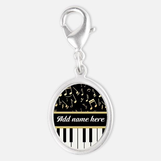 Personalized Piano and musical notes Silver Oval C