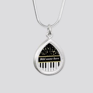 Personalized Piano and musical notes Silver Teardr