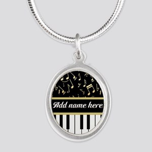 Personalized Piano and musical notes Silver Oval N