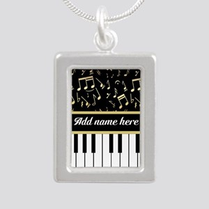 Personalized Piano and musical notes Silver Portra